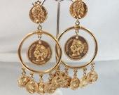 Vintage Coin Earrings Queen Victoria Dangling Hoops