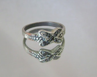 Vintage Ring Marcasite Silverplated over Copper