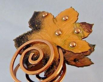 Matisse Copper Vintage Brooch Autumn Leaf