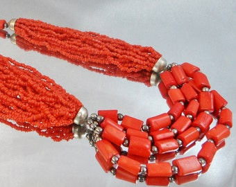 Vintage Red Coral Necklace.  Red Sponge Coral. Silver. Tribal.