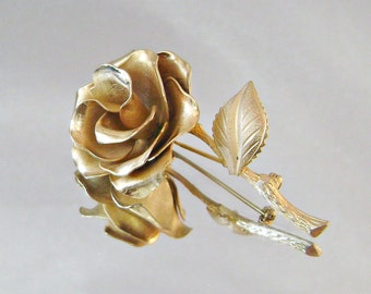 Vintage Brooch Large Goldtone Rose Flower Pin