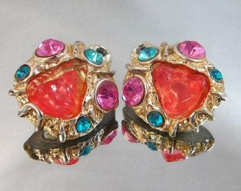 Vintage Nugget Earrings Peach, Pink, Aqua Blue Green Rhinestones