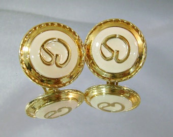 Vintage St John Earrings 22k Gold Plated and Cream