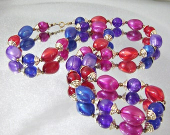 Vintage Necklace Jeweltone Red, Blue, Purple, Hot Pink Lucite Beads