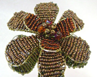 Vintage Brooch Beaded Large Amber Brown 70s Retro Mod Flower Power