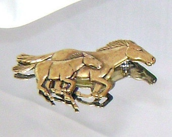 Vintage Horse Brooch.  Brass Horse and Colt Pony Figural