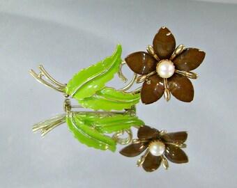 Vintage Flower Brooch.  Genuine Pearl.  Brown and Green