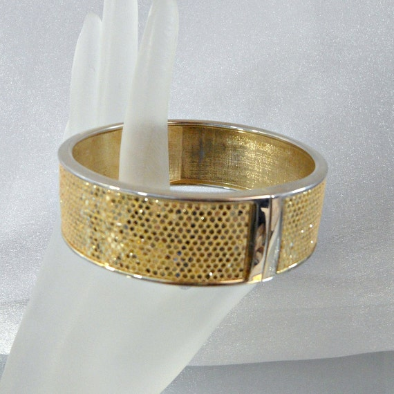 Vintage Glitter Bracelet.  Gold.  Clamper.