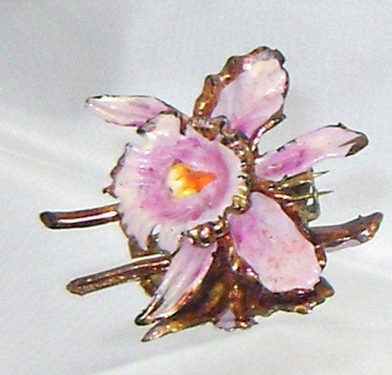 Art Deco Celluloid Painted Orchid Flower Vintage Brooch