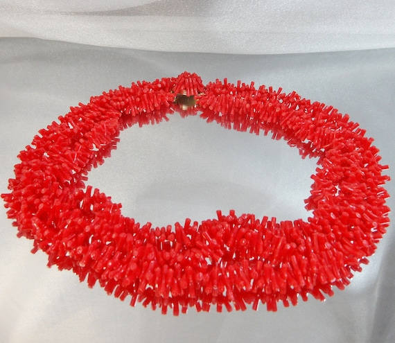Vintage Coral Necklace.  3 Strand.  Faux Red Branch Coral.  Hong Kong