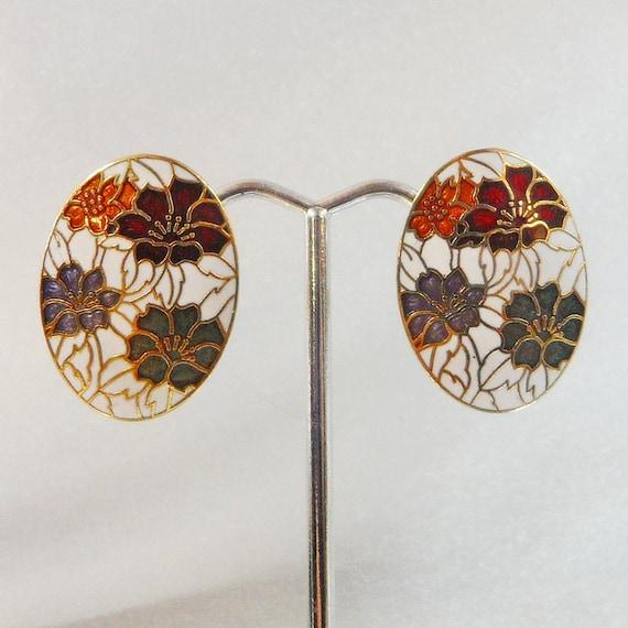 Vintage Cloisonne Earrings Flowers White Gold Burgundy Green Periwinkle Blue