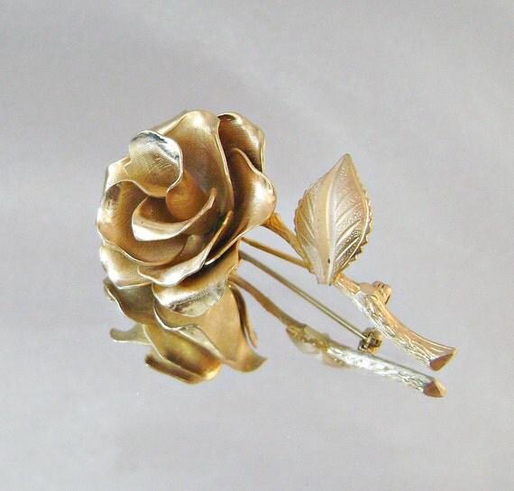 Vintage Brooch Large Goldtone Rose Flower Pin