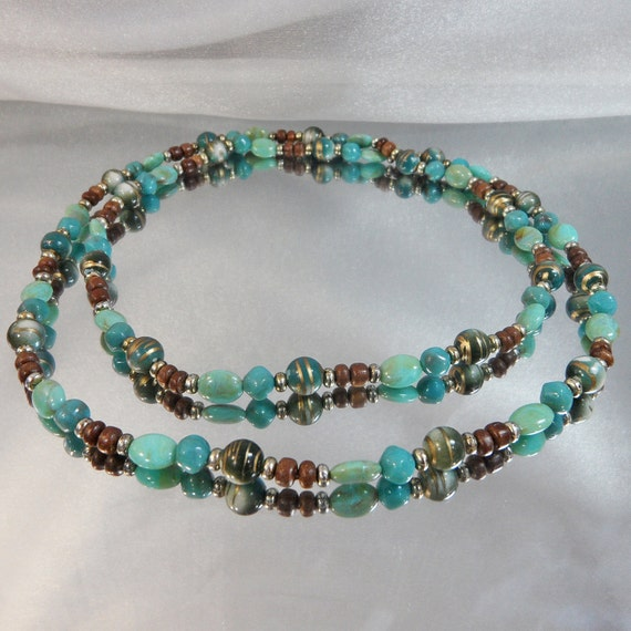 "Vintage Beaded Necklace Brown, Green, Turquoise, Gold. 40"" LONG"