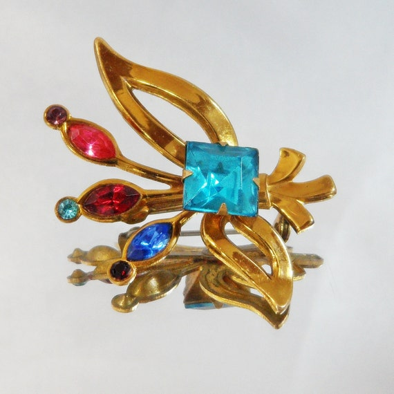 Vintage Rhinestone Brooch. Ruby Red, Aqua Blue, Royal Blue,  Garnet Red