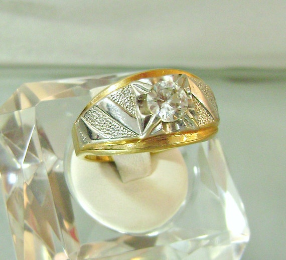 Vintage Ring LIND 14K HGE Men's Solitaire Cubic Zirconia White and Yellow Gold