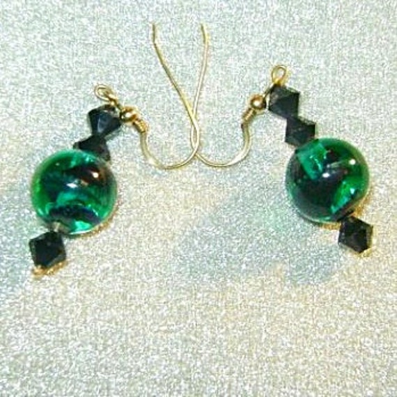 Vintage Glass Earrings Emerald Green and Jet Black