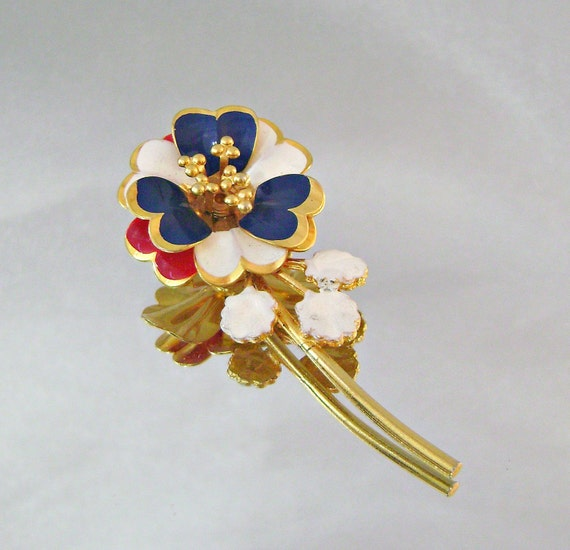 Vintage Brooch Mod Flower Power Red White Blue and Gold