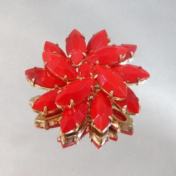 Vintage Red Brooch Opaque Marquise Pinwheel Layered Rhinestones