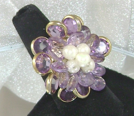 Vintage Ring Bezel Set Amethyst Purple Crystal Bead and Faux Pearls
