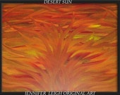 DESERT SUN.......SALE....Contemporary Modern Art Abstract Sunset Painting, Red, Yellow, Brown, by J. LEIGH