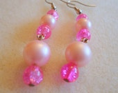 Pink Earrings Light Pink Vintage Pearls and Dark Pink Glass