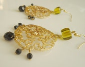 Large Gold Filigree Earrings with Green & Black