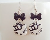 Black Earrings with Cute Kitty & Bow
