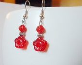 Red Earrings Glass Flowers and Silver