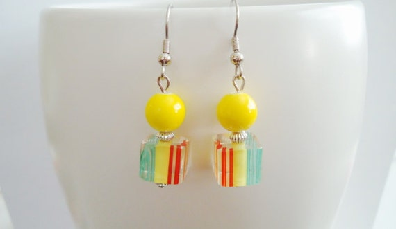 RESERVED FOR CHLOEY Yellow Earrings with Colorful Glass Beads
