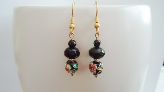 Black Earrings with Flowers and Gold