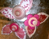 Pink Button Flower Magnets ~ Desk Accessory ~ Gift for Girls ~ Unique Gift ~ Retro Decor ~ Boho Art ~ Shabby Chic Art ~ Gift for Her