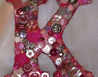 "CUSTOM 9"" Button Initial - Pink & Silver ""K"""