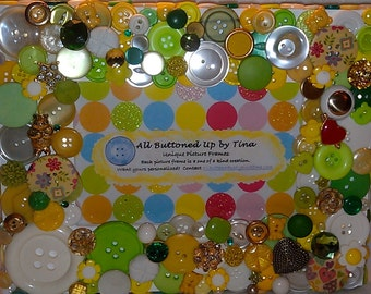 RESERVED ~ CUSTOM ONLY Green and Yellow Button Frame ~ Customized Gift ~ Personalized Frame ~ Shower Gift ~ Nursery Decor ~ for 4x6 Photo