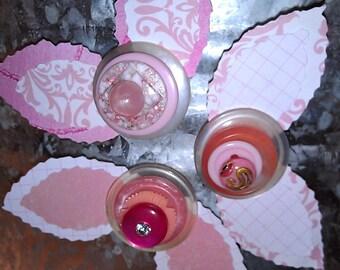 Pink Button Flower Magnets ~ Desk Accessories ~ Gift for Girl ~ Gift for Her ~ Nursery Decor ~ Button Art ~ Boho Art ~ Girls Bedroom Decor