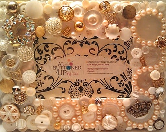 RESERVED ~ CUSTOM ONLY Wedding Button Frame ~ Customized Bridal Gift ~ Gift for Bride ~ Shower Gift ~ Shabby Chic Frame ~ for 4x6 Photo