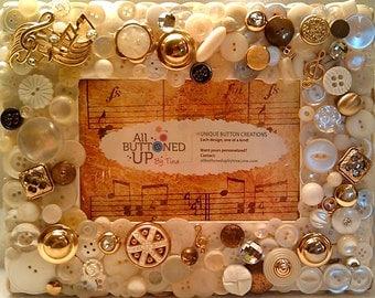 RESERVED ~ CUSTOM ONLY Musical Button Frame ~ Shabby Chic Art ~ Gift for Musician ~ Gift for Teacher ~ Gift for Her ~ for 4x6 Photo