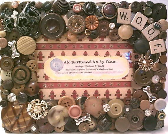 """Doggie Button Picture Frame for 4""""x6"""" photo"""