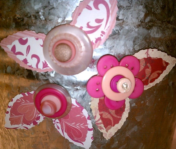 Pink Button Flower Magnets ~ Desk Accessory ~ Gift for Girls ~ Unique Gift ~ Retro Decor ~ Boho Art ~ Shabby Chic Art ~ Gift for Her