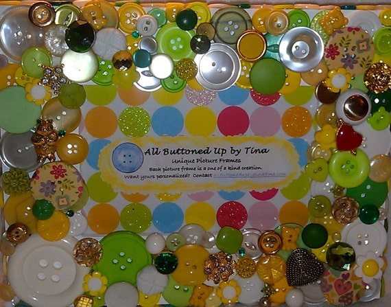 """RESERVED for Adria - CUSTOM ONLY Green and Yellow Button Picture Frame for 4""""x6"""" Photo"""