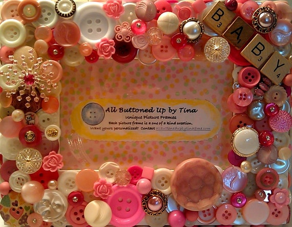 """Baby Girl Button Picture Frame for 4""""x6"""" Photo"""