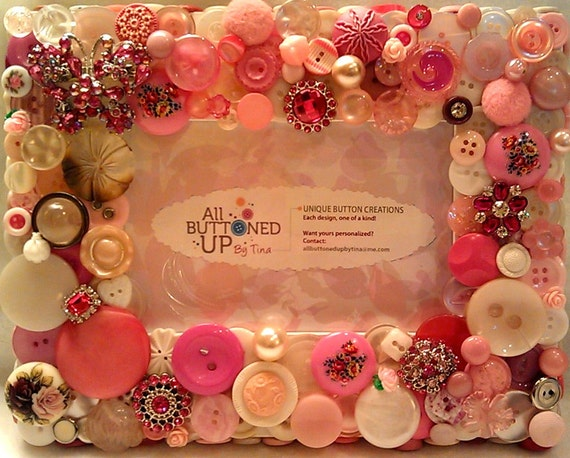 "Pink & White Butterfly Button Picture Frame for 4""x6"" photo"