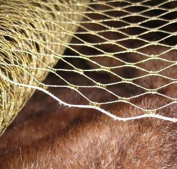 Metallic GOLD French netting - 9-inch wide, for DIY birdcage veils, fascinators