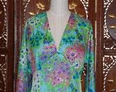 Vintage 1970's ANNE FOGARTY Floral Blue Maxi Dress  SZ 8-10
