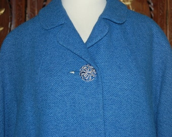 Vintage 1960s Blue Wool Boucle Swing Coat
