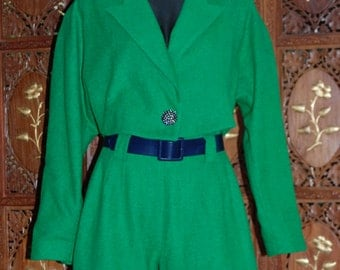 Fantastic Vintage Matching 1980s Kelly Green Wool Hot Pants and Cropped Dolman Sleeve Jacket Set