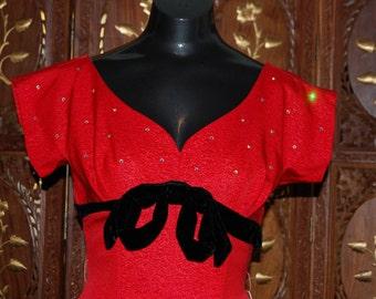 Vintage 1950s Red Moire Taffeta Dress