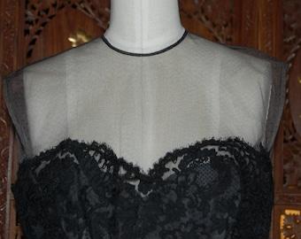 Black Battenberg Lace Wiggle Dress