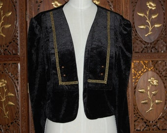 Vintage 1980s Gothic Sailor Captain Steampunk Black Velvet Jacket
