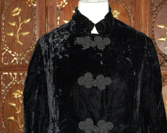 Fabulous Vintage Original 60s-70s Edwardian Style Black Velvet Maxi Coat with Frog Closure Buttons