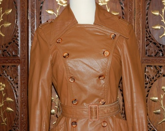 Vintage 1970s Camel Colored  Full Length Leather Trench Coat  Sz 6